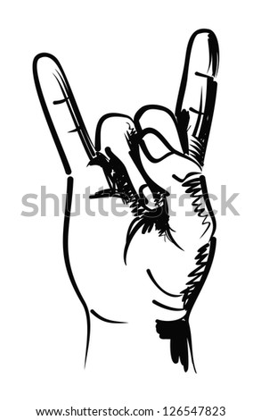vector black hand draw illustration of hand - stock vector