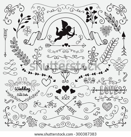 Vector Black Hand Sketched Rustic Floral Doodle Swirls, Branches, Design Elements. Decorative Corners, Dividers, Arrows, Scrolls. Hand Drawing Vector Illustration. Pattern Brushes. Love, Wedding - stock vector