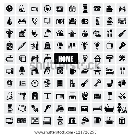vector black home appliances icons set on gray - stock vector