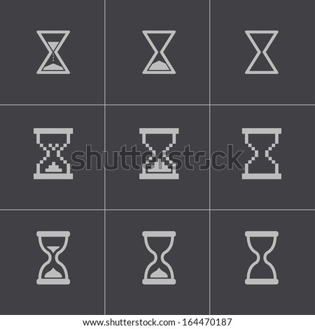 Vector black hourglass icons set - stock vector