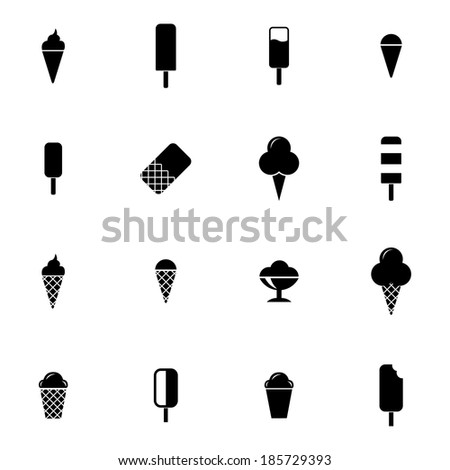 Vector black ice cream icons set on white background - stock vector
