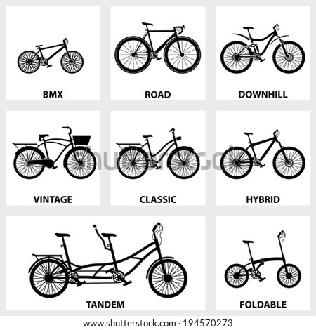 Vector black icon set bike on white background - stock vector