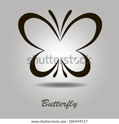 Vector black icon with butterfly on a gray background with shadow and the inscription - stock vector