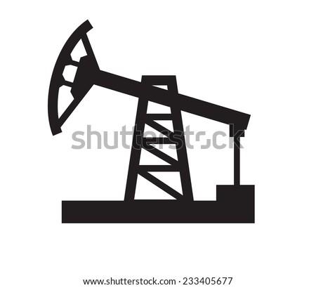 vector black illustration of Oil pump on white - stock vector