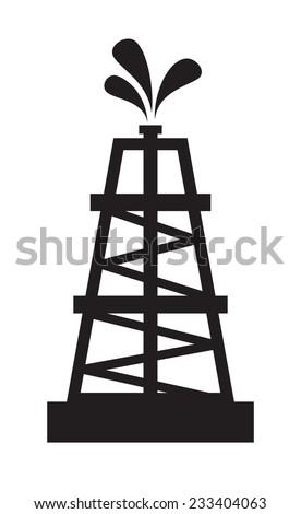 vector black illustration of Oil rig on white - stock vector