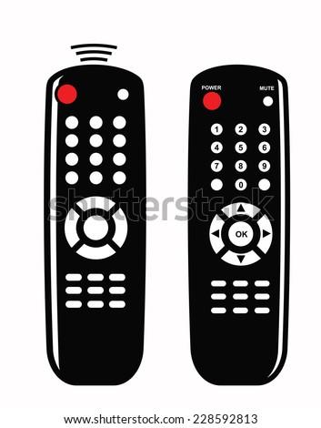 vector black illustration of Remote control icon on white - stock vector