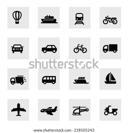 vector black illustration of transport icon on white - stock vector