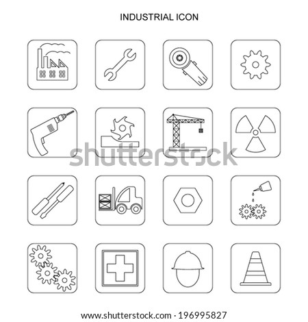 vector black industry icons set on white background - stock vector