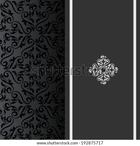 vector black invitation card with design elements such as seamless damask pattern and silver ribbon - stock vector
