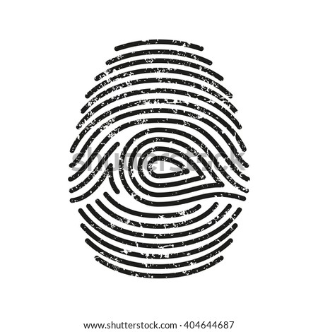 Vector  black isolated fingerprint with grunge on white background - stock vector