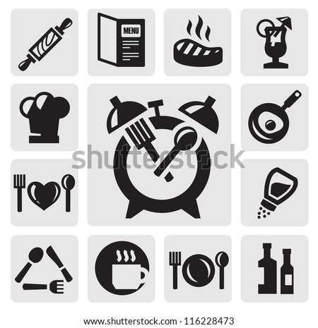 vector black kitchen icons set on gray - stock vector