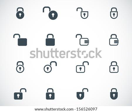 Vector black  lock  icons set - stock vector
