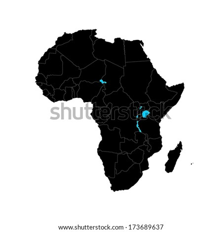 Vector black map of Africa isolated on white background. Africa-highly detailed map.All elements are separated in editable layers clearly labeled. - stock vector