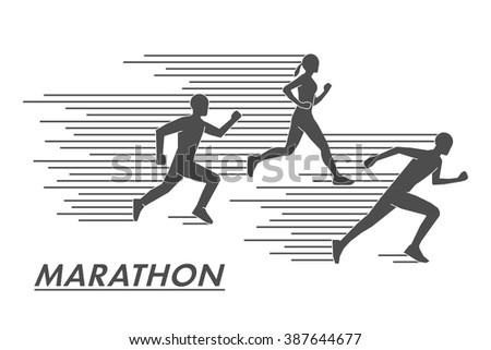 Vector black marathon symbol and logo. - stock vector