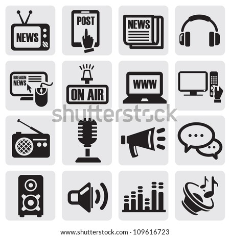 vector black media icons set on gray - stock vector