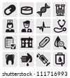 vector black medical icons set on gray - stock vector