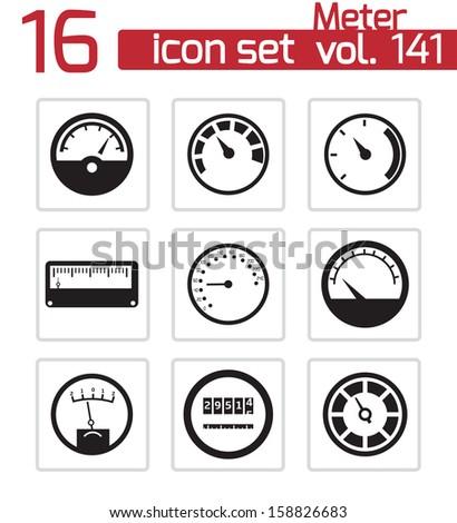 Meter Icon Vector Vector Black Meter Icons Set
