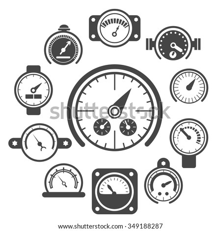 Vector black meter icons set. Power panel, interface barometer gauge control illustration - stock vector