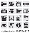 vector black movie technology icons set on gray - stock vector