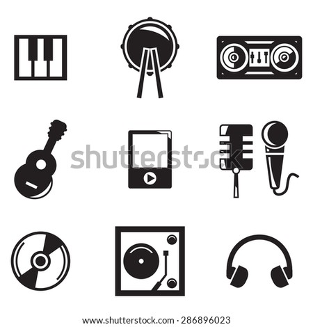 Vector black music icons set on white background - stock vector
