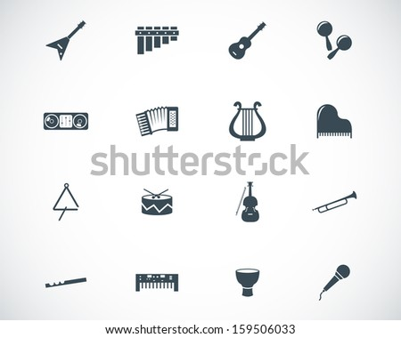 Vector black music instruments icons set - stock vector