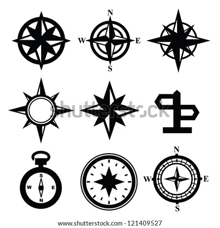 vector black navigation icon set on gray - stock vector