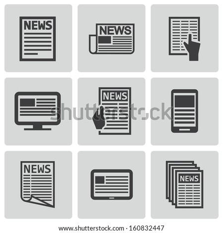 Vector black newspaper icons set - stock vector