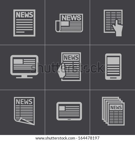 Vector black newspaper icons set - stock vector