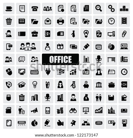 vector black office icons set on gray - stock vector