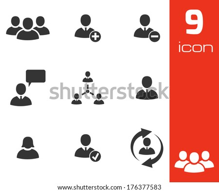 Vector black office people icons set white background - stock vector