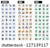 vector black office, web and eco icons set - stock vector