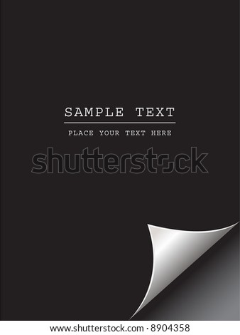 Vector - Black paper with realistic page curl. Copy space for image or text. - stock vector