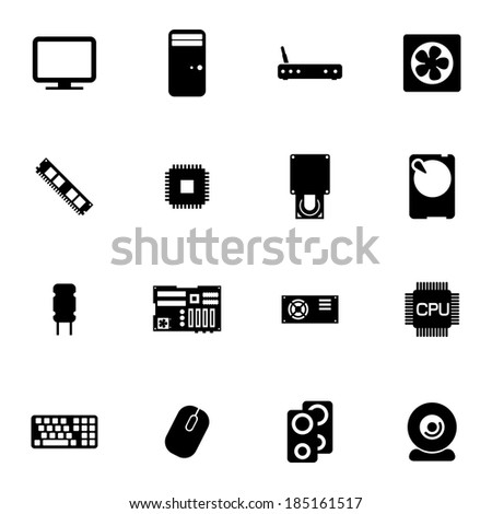 Vector black  PC components  icons set on white background - stock vector