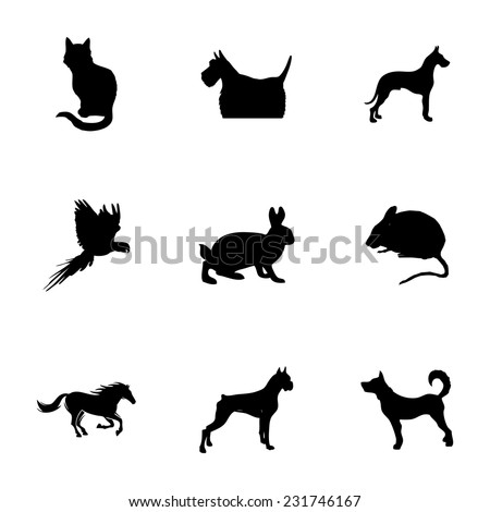 Vector black pet icons set on white background - stock vector
