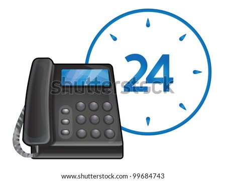 vector black phone - 24 hour call center support - stock vector
