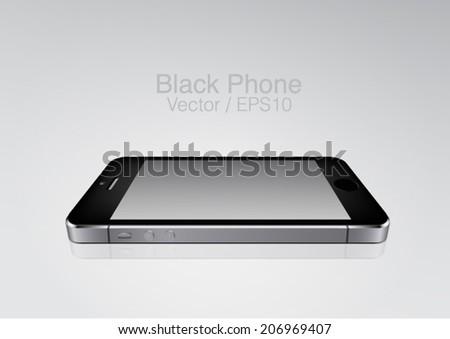 vector black phone on the plane mockup - stock vector