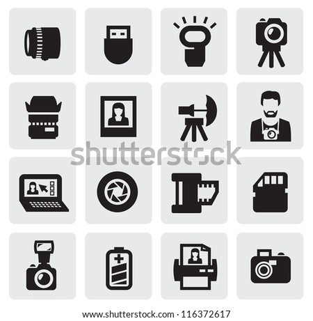 vector black photo icons set on gray - stock vector
