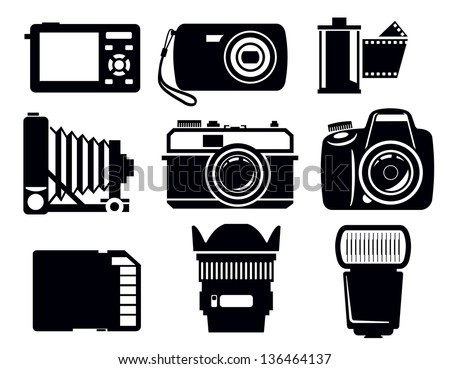 vector black photo icons set on white - stock vector