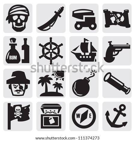 vector black pirates icons set on gray - stock vector