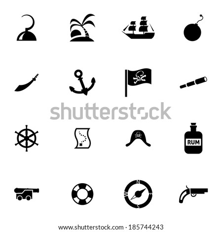 Vector black pirates icons set on white background - stock vector
