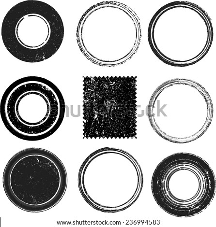 Vector Black Postal Stamps and Postmark Collection . Set of Grunge Border Frames . Circle Shapes . - stock vector