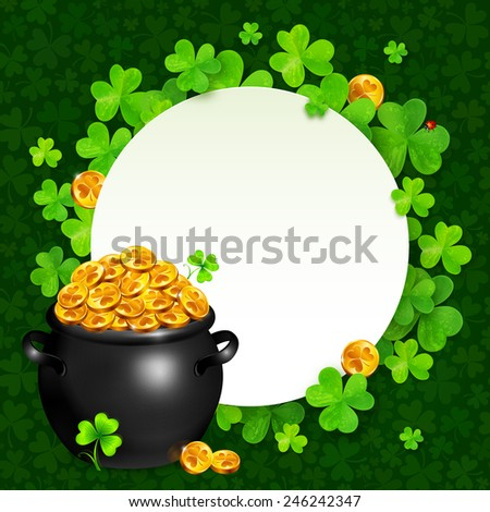 Vector black pot of magic gold on clovers circle background - stock vector