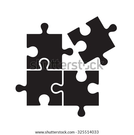 vector black puzzles icon on white background - stock vector