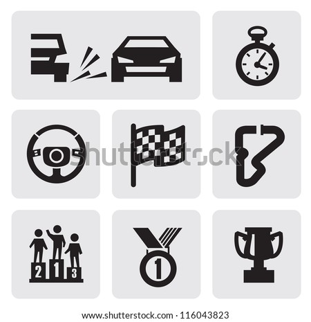 vector black race icons set on gray - stock vector