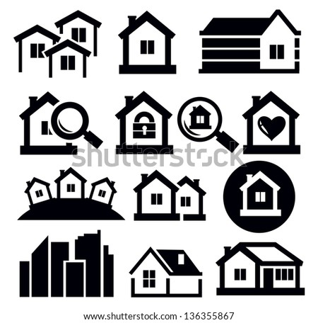 vector black real estate icon set on white - stock vector