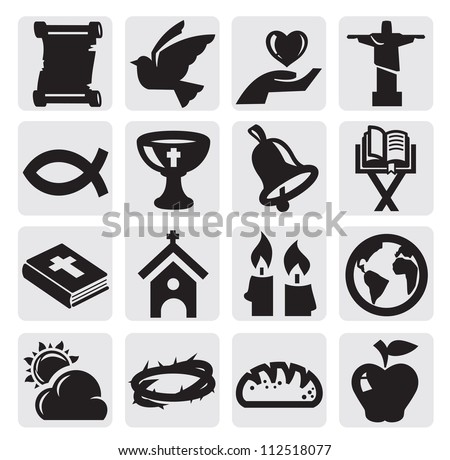 vector black religion icon set on gray - stock vector