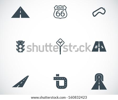 Vector black road icons set - stock vector
