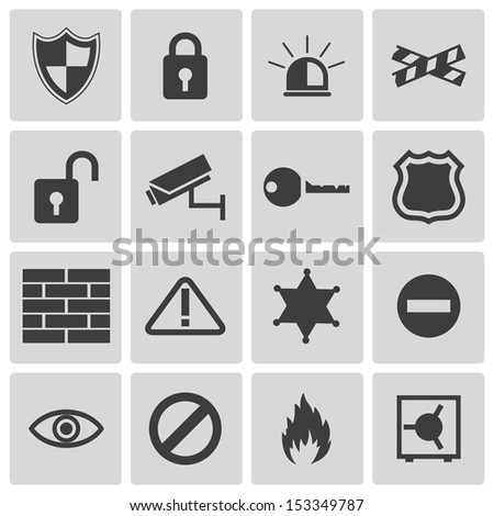 Vector black  security icons set - stock vector
