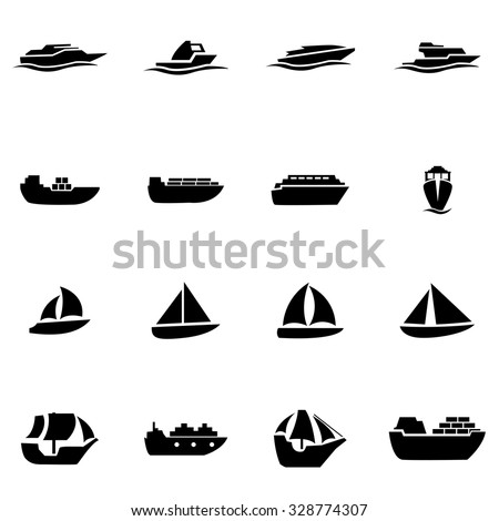 Vector black ship and boat icon set. Ship and Boat Icon Object, Ship and Boat Icon Picture, Ship and Boat Icon Image, Ship and Boat Icon Graphic, Ship and Boat Icon JPG - stock vector - stock vector