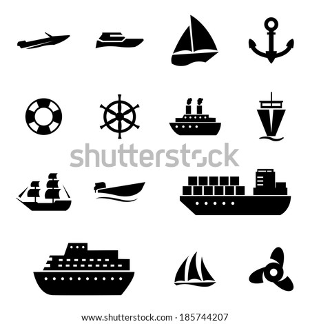 Vector black ship and boat  icons set on white background - stock vector